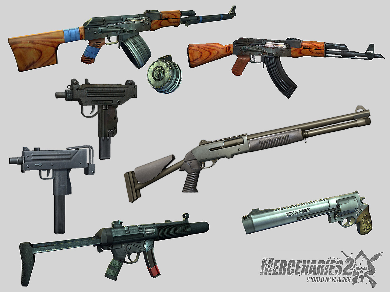 3rd person weapon models for Mercenaries 2: World in Flames game
